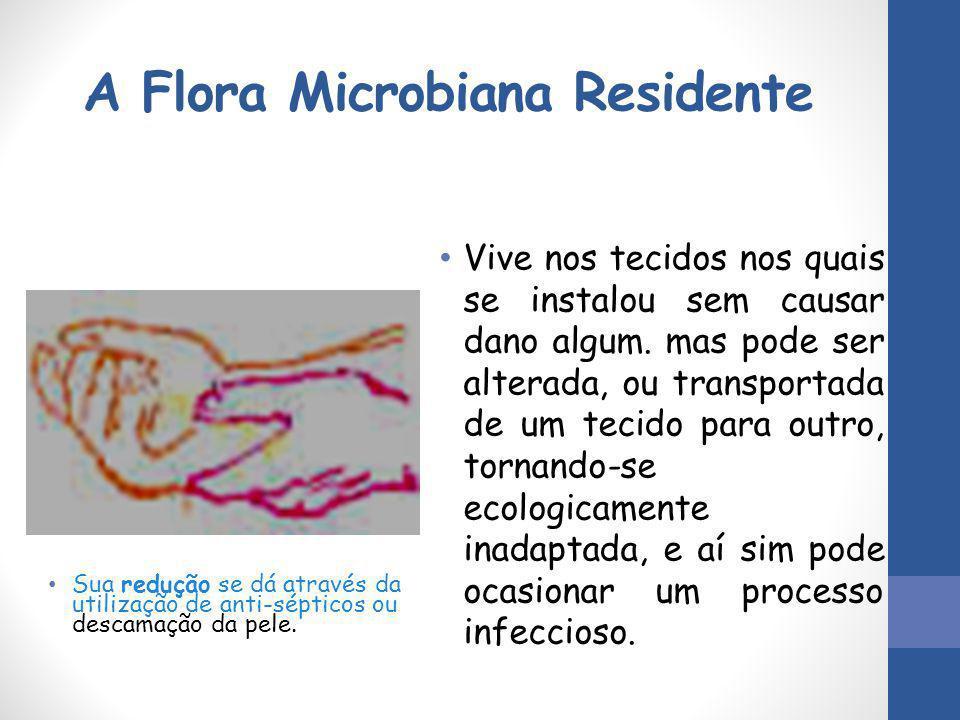 A Flora Microbiana Residente Sua redução se dá através da utilização de anti-sépticos ou descamação da pele. Vive nos tecidos nos quais se instalou se