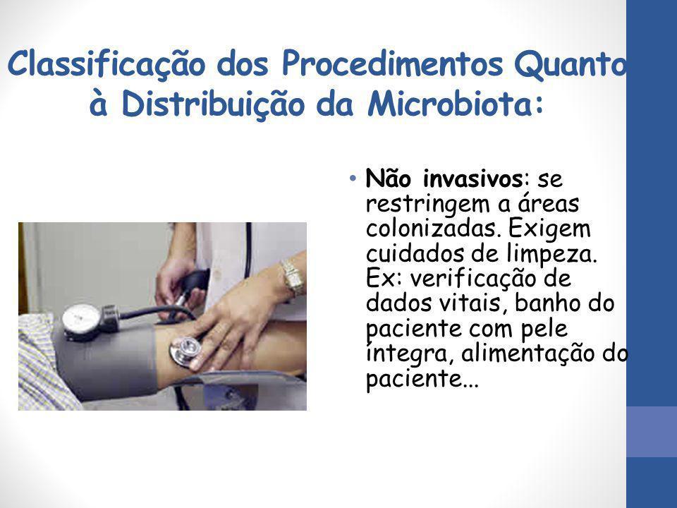 Classificação dos Procedimentos Quanto à Distribuição da Microbiota: Não invasivos: se restringem a áreas colonizadas. Exigem cuidados de limpeza. Ex: