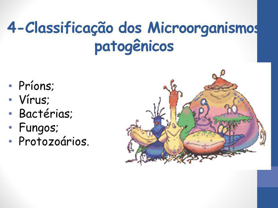4-Classificação dos Microorganismos patogênicos Príons; Vírus; Bactérias; Fungos; Protozoários.