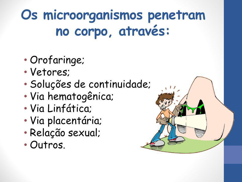 Os microorganismos penetram no corpo, através: Orofaringe; Vetores; Soluções de continuidade; Via hematogênica; Via Linfática; Via placentária; Relaçã
