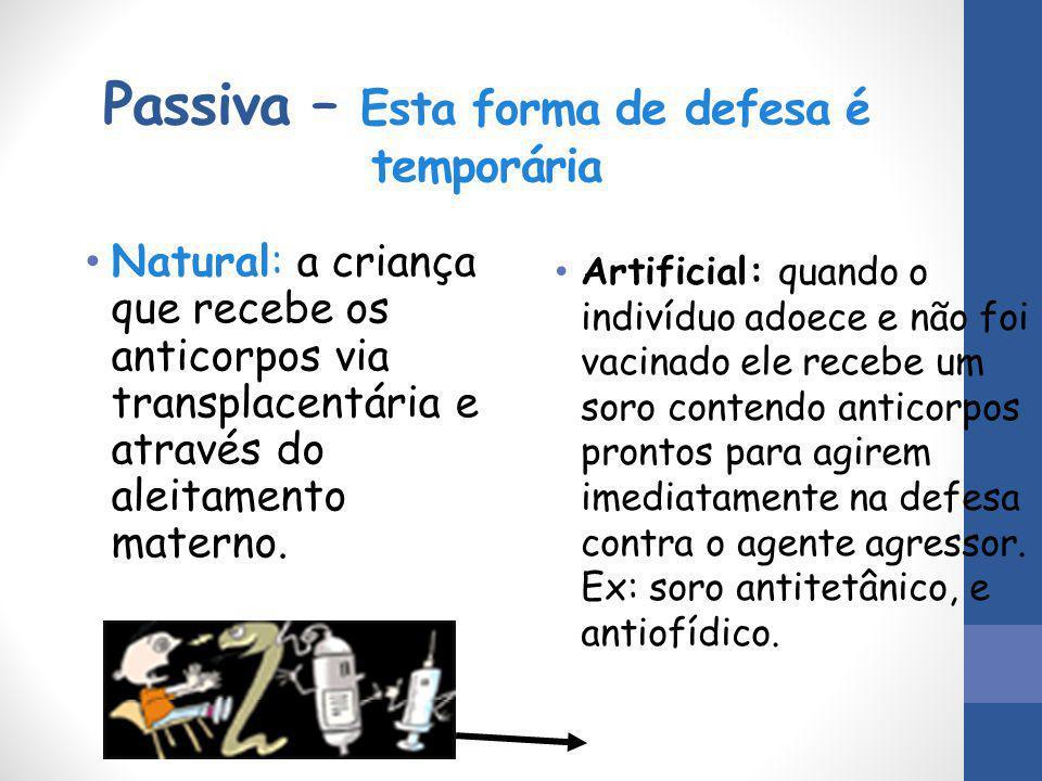 Passiva – Esta forma de defesa é temporária Natural: a criança que recebe os anticorpos via transplacentária e através do aleitamento materno. Artific