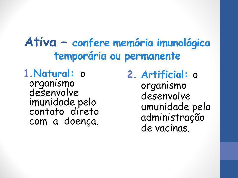 Ativa – confere memória imunológica temporária ou permanente 1.Natural: o organismo desenvolve imunidade pelo contato direto com a doença. 2.Artificia
