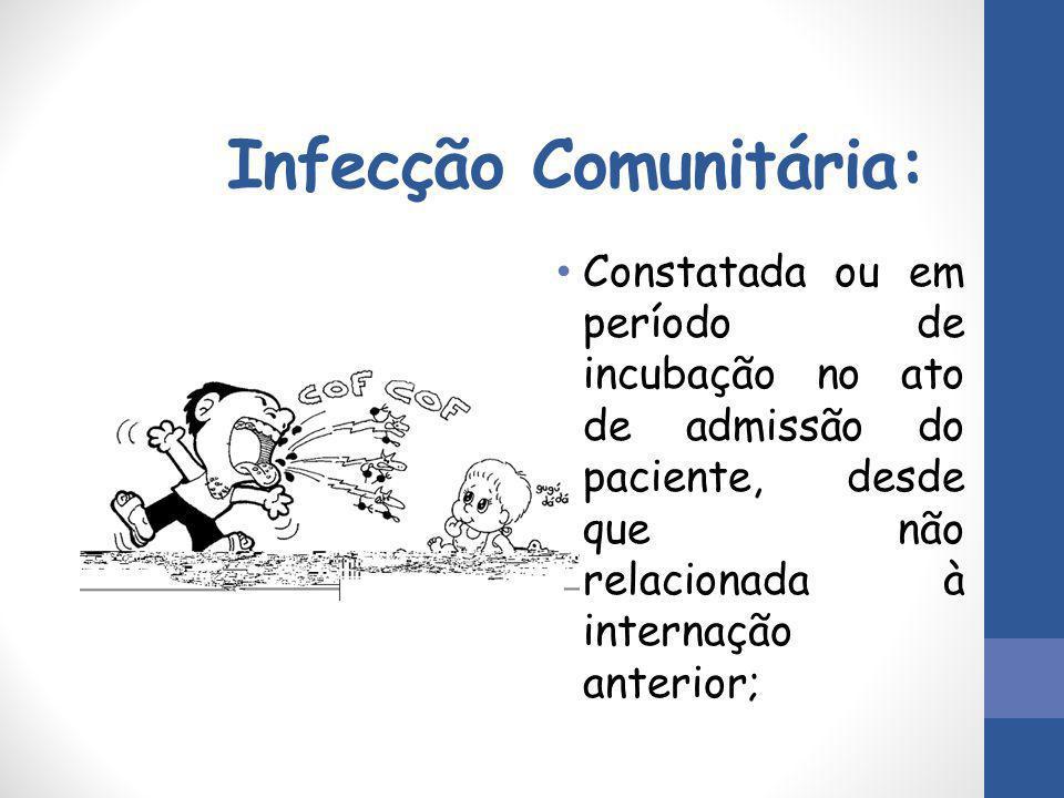 Infecção Comunitária: Constatada ou em período de incubação no ato de admissão do paciente, desde que não relacionada à internação anterior;
