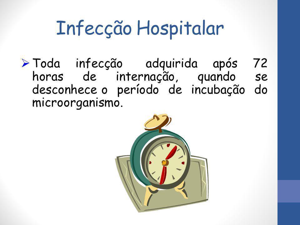 Infecção Hospitalar  Toda infecção adquirida após 72 horas de internação, quando se desconhece o período de incubação do microorganismo.