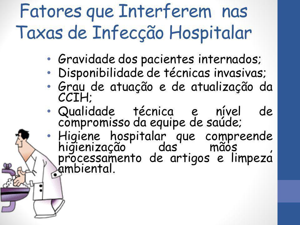 Fatores que Interferem nas Taxas de Infecção Hospitalar Gravidade dos pacientes internados; Disponibilidade de técnicas invasivas; Grau de atuação e d