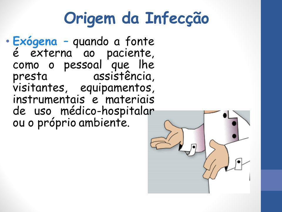 Origem da Infecção Exógena – quando a fonte é externa ao paciente, como o pessoal que lhe presta assistência, visitantes, equipamentos, instrumentais