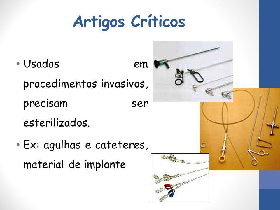 Artigos Críticos Usados em procedimentos invasivos, precisam ser esterilizados. Ex: agulhas e cateteres, material de implante