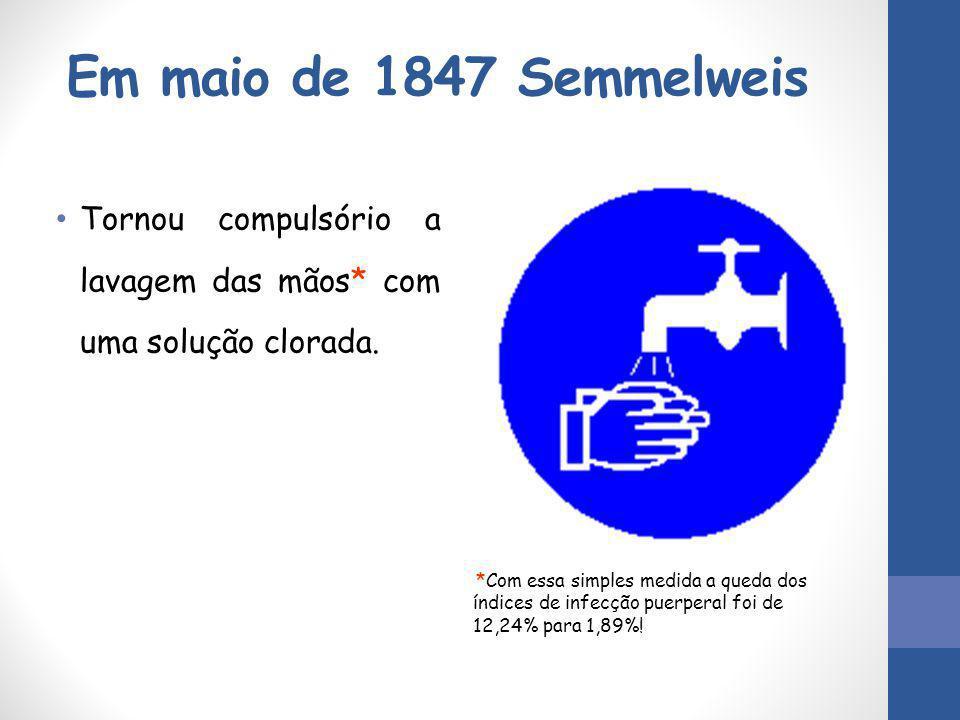 Em maio de 1847 Semmelweis Tornou compulsório a lavagem das mãos* com uma solução clorada. *Com essa simples medida a queda dos índices de infecção pu