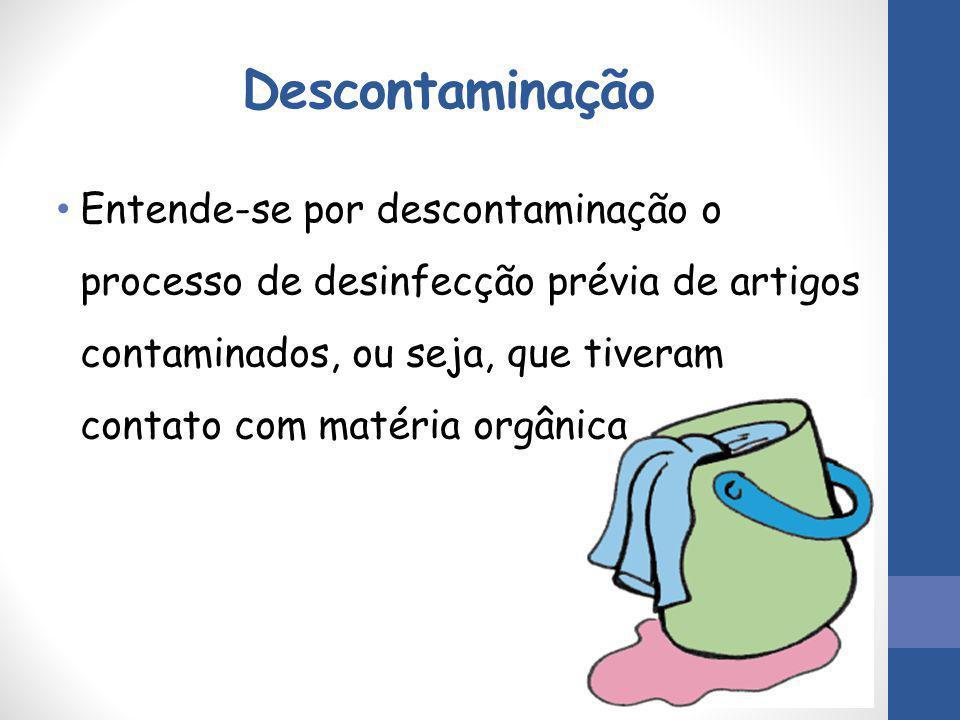 Descontaminação Entende-se por descontaminação o processo de desinfecção prévia de artigos contaminados, ou seja, que tiveram contato com matéria orgâ