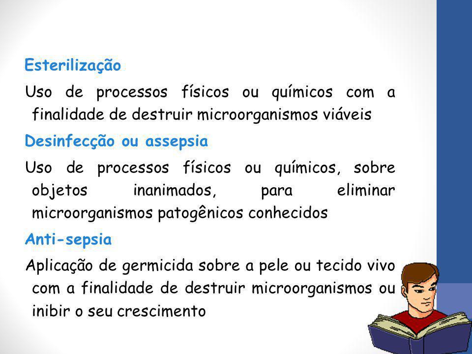 Esterilização Uso de processos físicos ou químicos com a finalidade de destruir microorganismos viáveis Desinfecção ou assepsia Uso de processos físic