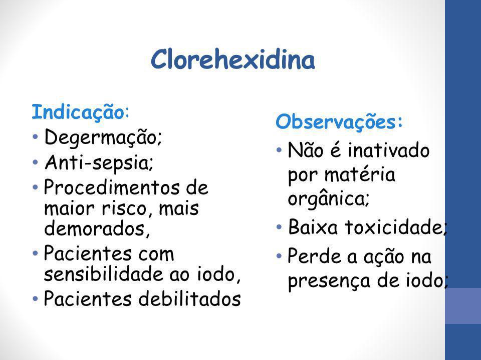 Clorehexidina Indicação: Degermação; Anti-sepsia; Procedimentos de maior risco, mais demorados, Pacientes com sensibilidade ao iodo, Pacientes debilit