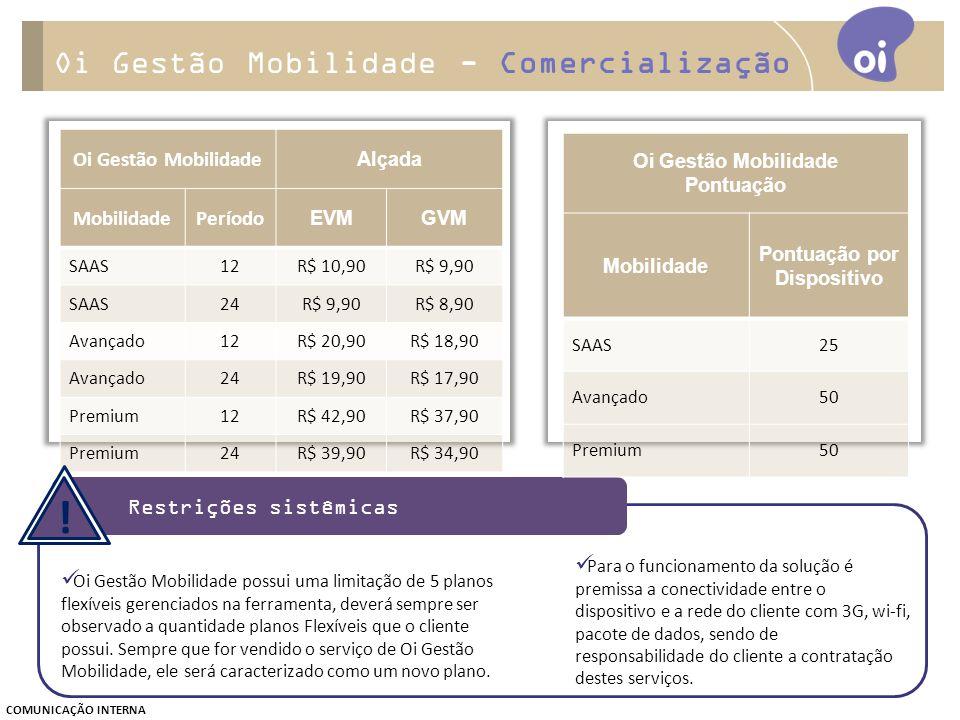 Oi Gestão Mobilidade Alçada MobilidadePeríodo EVMGVM SAAS12R$ 10,90R$ 9,90 SAAS24R$ 9,90R$ 8,90 Avançado12R$ 20,90R$ 18,90 Avançado24R$ 19,90R$ 17,90 Premium12R$ 42,90R$ 37,90 Premium24R$ 39,90R$ 34,90 Oi Gestão Mobilidade possui uma limitação de 5 planos flexíveis gerenciados na ferramenta, deverá sempre ser observado a quantidade planos Flexíveis que o cliente possui.
