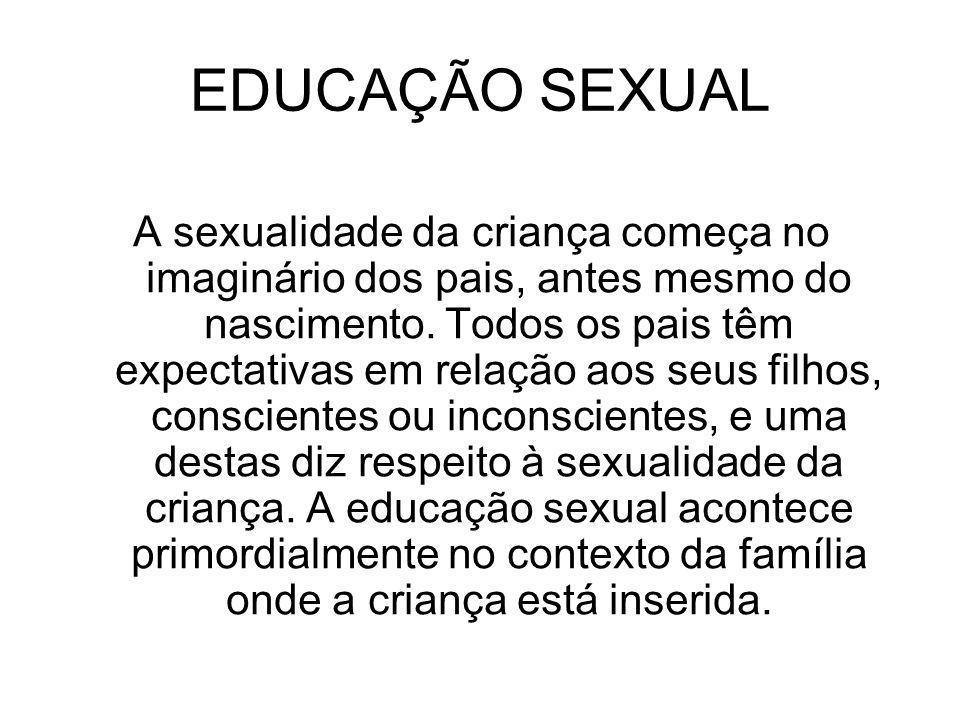 EDUCAÇÃO SEXUAL A sexualidade da criança começa no imaginário dos pais, antes mesmo do nascimento. Todos os pais têm expectativas em relação aos seus