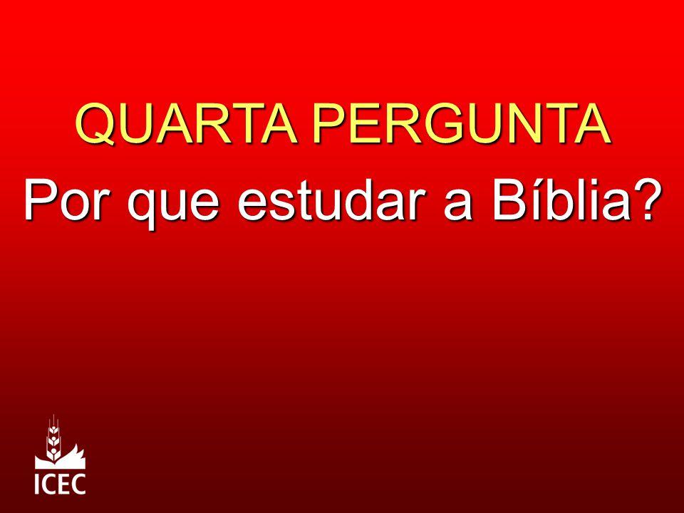 QUARTA PERGUNTA Por que estudar a Bíblia?