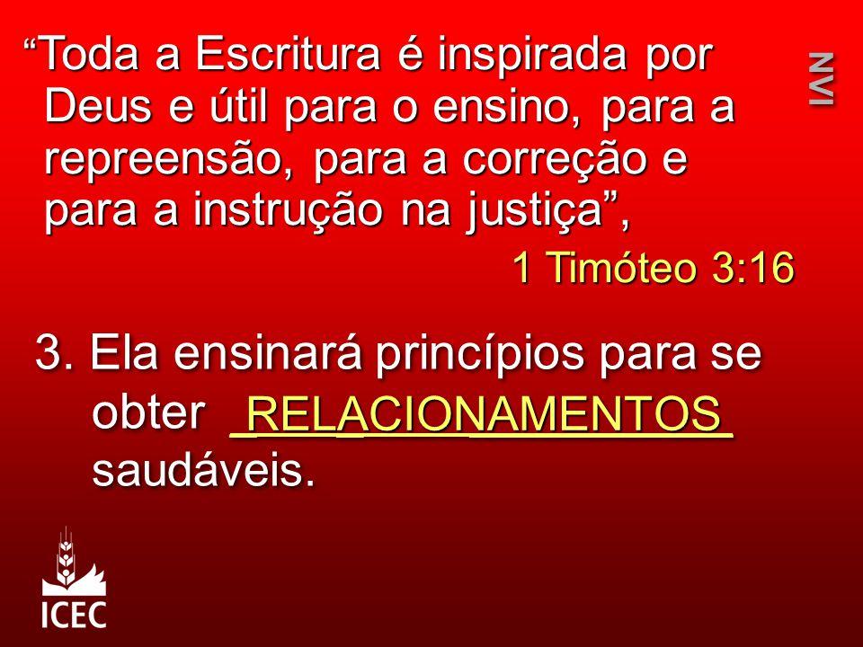 "3. Ela ensinará princípios para se obter _ _ __________ saudáveis. RELACIONAMENTOS NVI "" Toda a Escritura é inspirada por Deus e útil para o ensino, p"