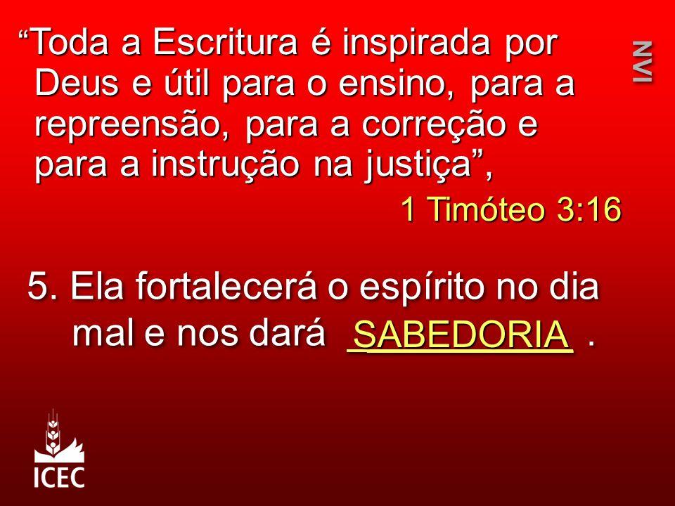 """5. Ela fortalecerá o espírito no dia mal e nos dará __________. SABEDORIA NVI """" Toda a Escritura é inspirada por Deus e útil para o ensino, para a rep"""