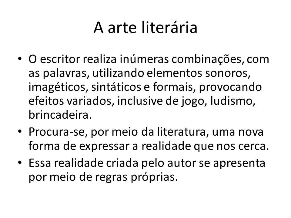 A arte literária O escritor realiza inúmeras combinações, com as palavras, utilizando elementos sonoros, imagéticos, sintáticos e formais, provocando