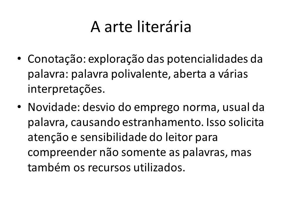 A arte literária Conotação: exploração das potencialidades da palavra: palavra polivalente, aberta a várias interpretações. Novidade: desvio do empreg