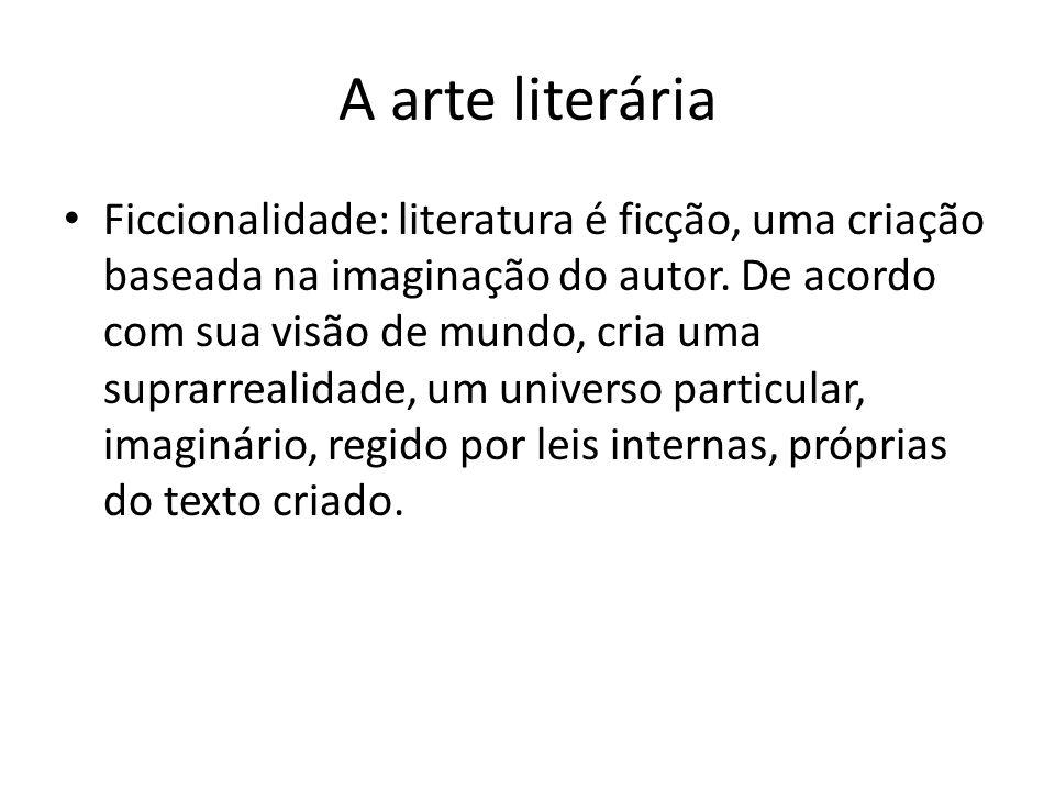 A arte literária Ficcionalidade: literatura é ficção, uma criação baseada na imaginação do autor. De acordo com sua visão de mundo, cria uma suprarrea