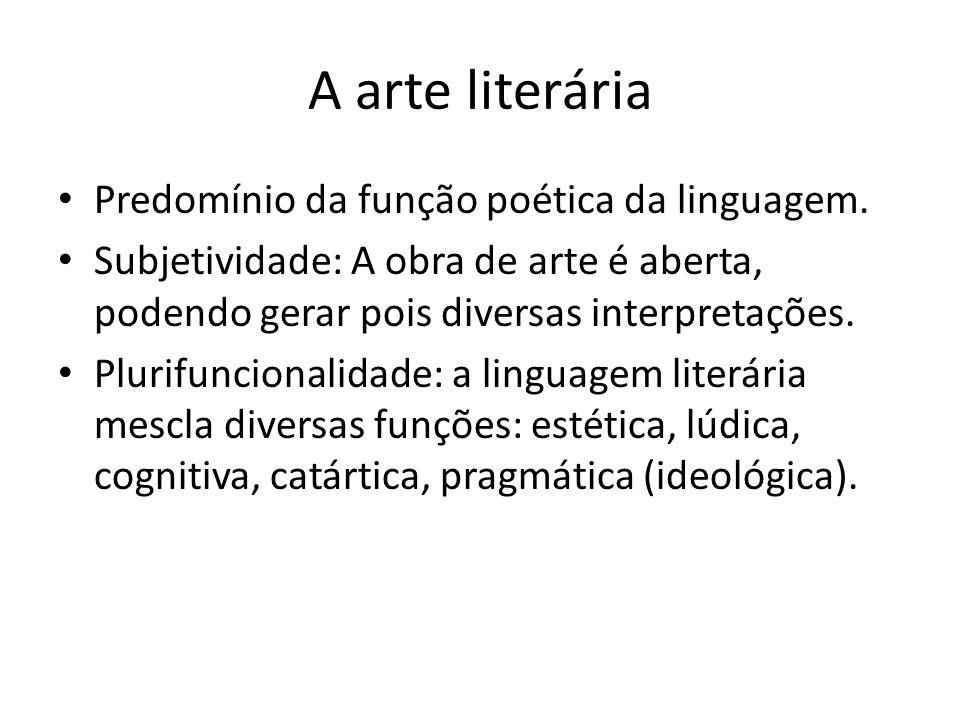 A arte literária Predomínio da função poética da linguagem. Subjetividade: A obra de arte é aberta, podendo gerar pois diversas interpretações. Plurif