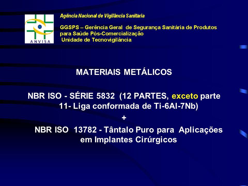 NORMAS TÉCNICAS MATERIAIS METÁLICOS (Horizontais e Específicas)