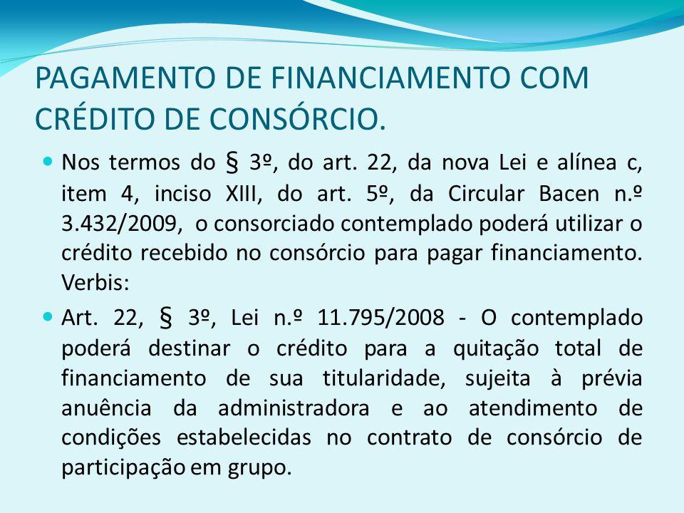 PAGAMENTO DE FINANCIAMENTO COM CRÉDITO DE CONSÓRCIO.