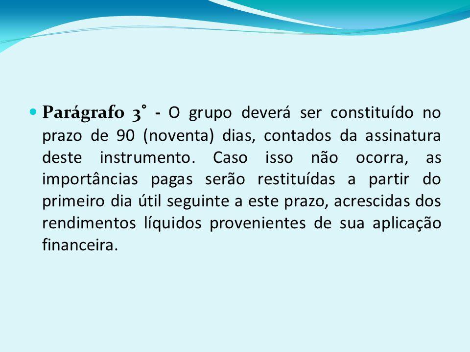 Parágrafo 3° - O grupo deverá ser constituído no prazo de 90 (noventa) dias, contados da assinatura deste instrumento.