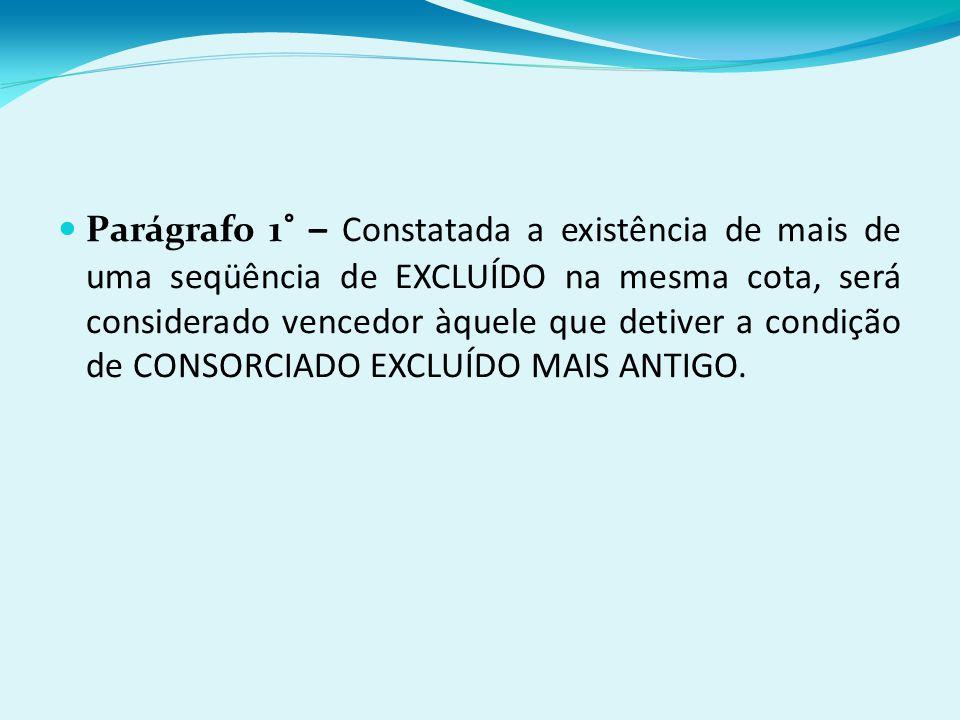 Parágrafo 1° – Constatada a existência de mais de uma seqüência de EXCLUÍDO na mesma cota, será considerado vencedor àquele que detiver a condição de CONSORCIADO EXCLUÍDO MAIS ANTIGO.