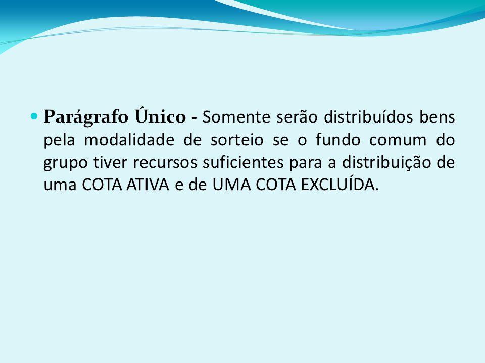 Parágrafo Único - Somente serão distribuídos bens pela modalidade de sorteio se o fundo comum do grupo tiver recursos suficientes para a distribuição de uma COTA ATIVA e de UMA COTA EXCLUÍDA.