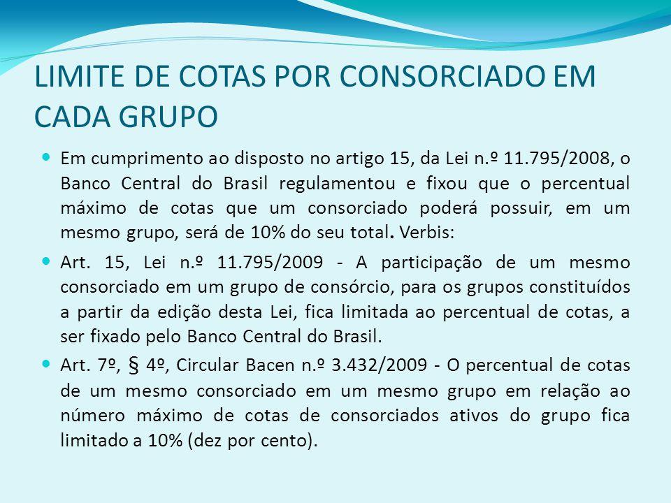 LIMITE DE COTAS POR CONSORCIADO EM CADA GRUPO Em cumprimento ao disposto no artigo 15, da Lei n.º 11.795/2008, o Banco Central do Brasil regulamentou e fixou que o percentual máximo de cotas que um consorciado poderá possuir, em um mesmo grupo, será de 10% do seu total.
