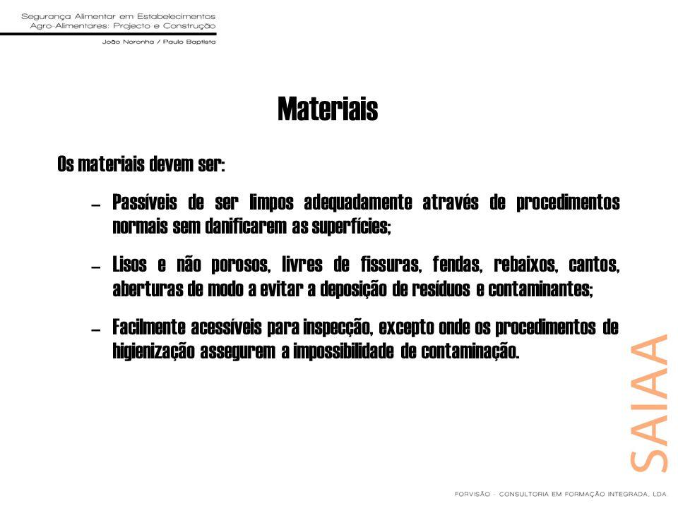 Materiais Os materiais devem ser: –Passíveis de ser limpos adequadamente através de procedimentos normais sem danificarem as superfícies; –Lisos e não
