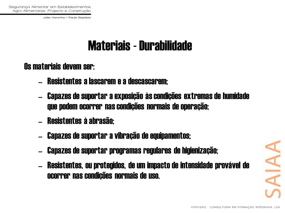 Materiais - Durabilidade Os materiais devem ser: –Resistentes a lascarem e a descascarem; –Capazes de suportar a exposição às condições extremas de hu