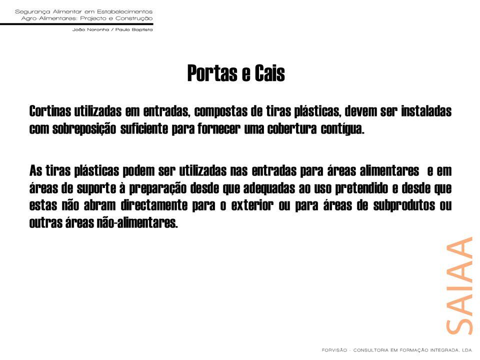 Portas e Cais Cortinas utilizadas em entradas, compostas de tiras plásticas, devem ser instaladas com sobreposição suficiente para fornecer uma cobert