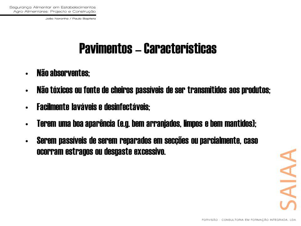 Pavimentos – Características Não absorventes; Não tóxicos ou fonte de cheiros passíveis de ser transmitidos aos produtos; Facilmente laváveis e desinf