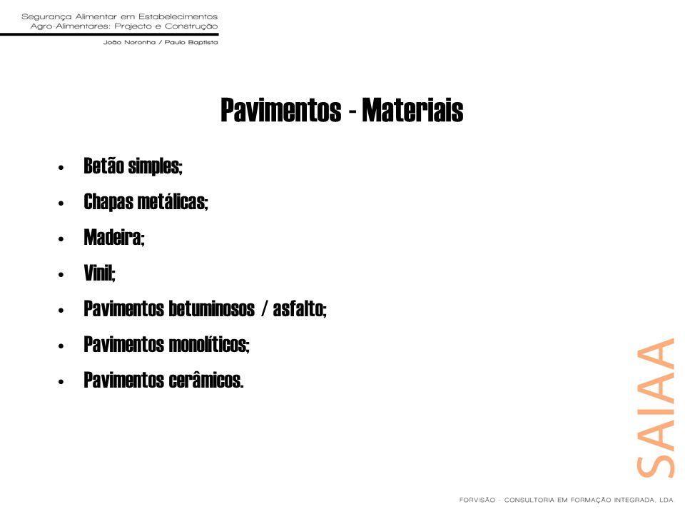 Pavimentos - Materiais Betão simples; Chapas metálicas; Madeira; Vinil; Pavimentos betuminosos / asfalto; Pavimentos monolíticos; Pavimentos cerâmicos
