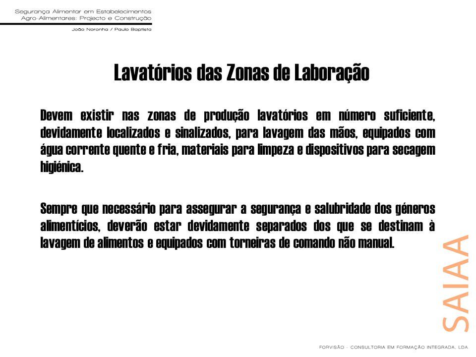 Lavatórios das Zonas de Laboração Devem existir nas zonas de produção lavatórios em número suficiente, devidamente localizados e sinalizados, para lav