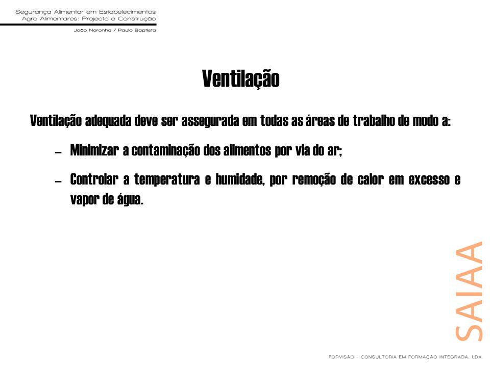 Ventilação Ventilação adequada deve ser assegurada em todas as áreas de trabalho de modo a: –Minimizar a contaminação dos alimentos por via do ar; –Co