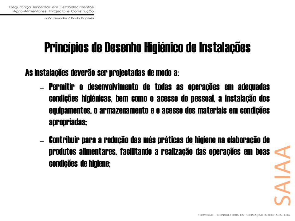 Princípios de Desenho Higiénico de Instalações As instalações deverão ser projectadas de modo a: –Permitir o desenvolvimento de todas as operações em