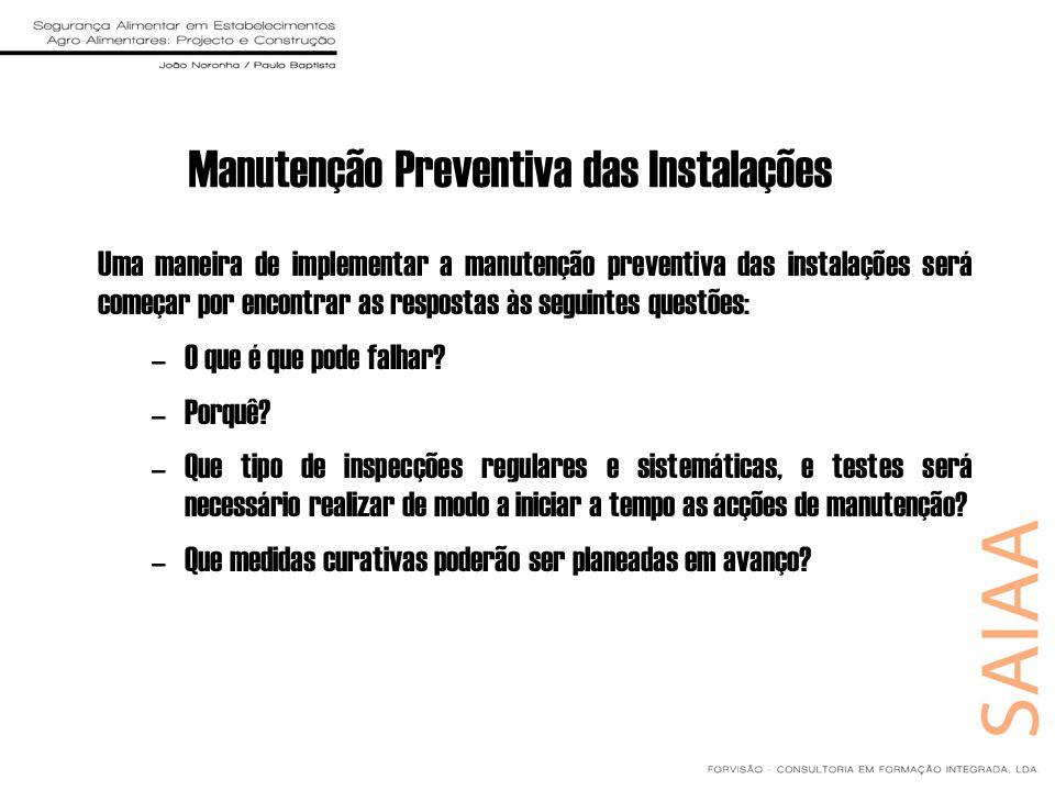 Manutenção Preventiva das Instalações Uma maneira de implementar a manutenção preventiva das instalações será começar por encontrar as respostas às se