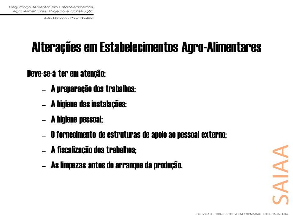 Alterações em Estabelecimentos Agro-Alimentares Deve-se-á ter em atenção: –A preparação dos trabalhos; –A higiene das instalações; –A higiene pessoal;