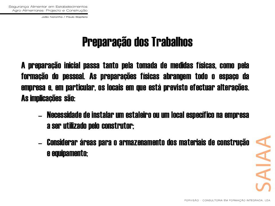 Preparação dos Trabalhos A preparação inicial passa tanto pela tomada de medidas físicas, como pela formação do pessoal. As preparações físicas abrang