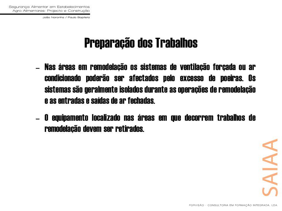 Preparação dos Trabalhos –Nas áreas em remodelação os sistemas de ventilação forçada ou ar condicionado poderão ser afectados pelo excesso de poeiras.