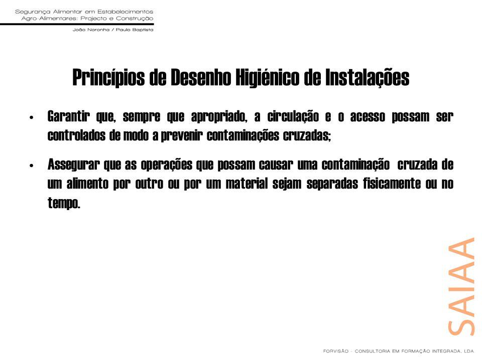 Princípios de Desenho Higiénico de Instalações Garantir que, sempre que apropriado, a circulação e o acesso possam ser controlados de modo a prevenir