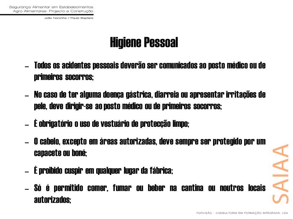Higiene Pessoal –Todos os acidentes pessoais deverão ser comunicados ao posto médico ou de primeiros socorros; –No caso de ter alguma doença gástrica,