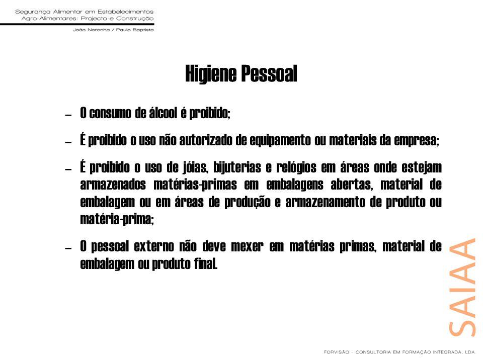 Higiene Pessoal –O consumo de álcool é proibido; –É proibido o uso não autorizado de equipamento ou materiais da empresa; –É proibido o uso de jóias,