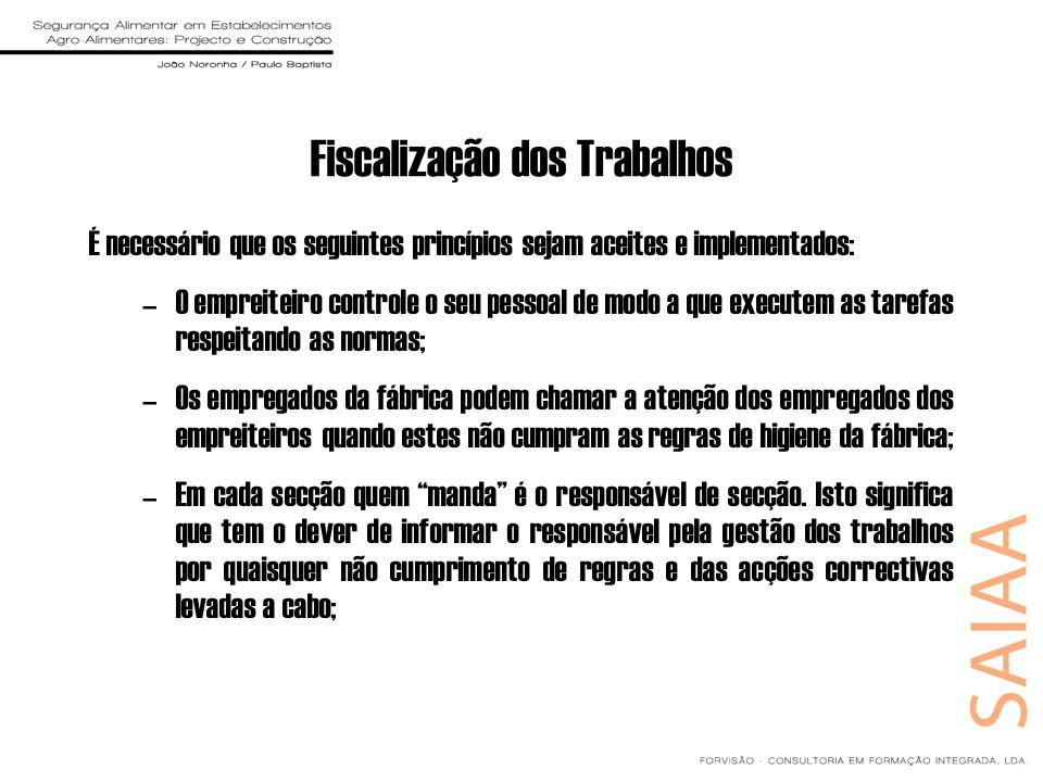 Fiscalização dos Trabalhos É necessário que os seguintes princípios sejam aceites e implementados: –O empreiteiro controle o seu pessoal de modo a que