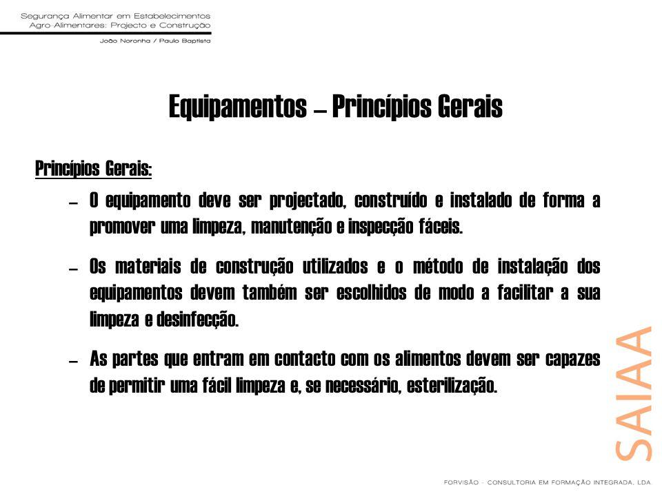 Equipamentos – Princípios Gerais Princípios Gerais: –O equipamento deve ser projectado, construído e instalado de forma a promover uma limpeza, manute