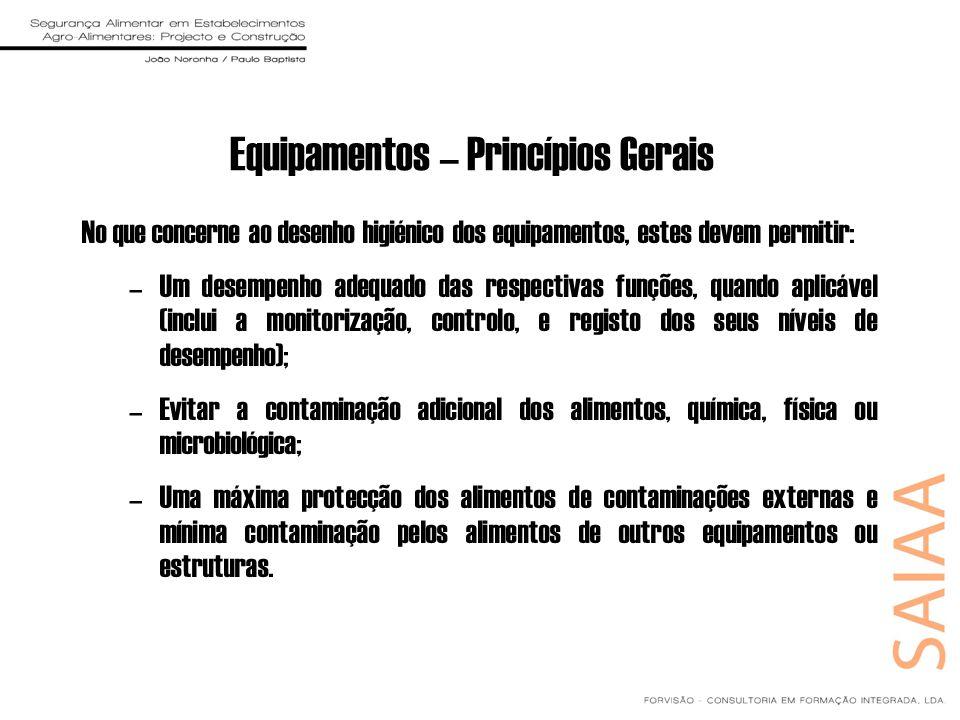 Equipamentos – Princípios Gerais No que concerne ao desenho higiénico dos equipamentos, estes devem permitir: –Um desempenho adequado das respectivas