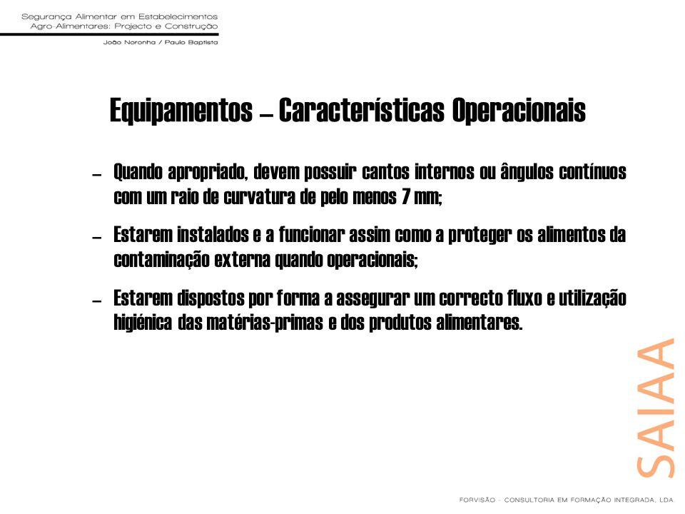 Equipamentos – Características Operacionais –Quando apropriado, devem possuir cantos internos ou ângulos contínuos com um raio de curvatura de pelo me