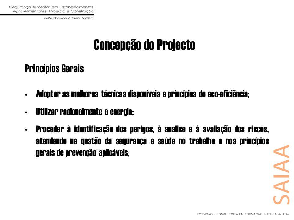 Concepção do Projecto Princípios Gerais Adoptar as melhores técnicas disponíveis e princípios de eco-eficiência; Utilizar racionalmente a energia; Pro